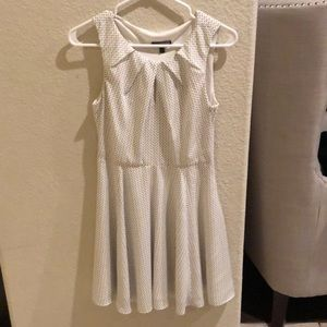 Express fit & flare white patterned dress